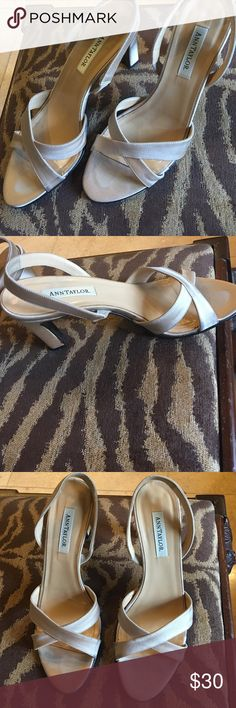 Cream satin Ann Taylor sandal 7 M excellent condition, little scuffing on bottom, app. 3 inch heel Ann Taylor Shoes Sandals