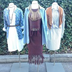 Spring is Near !!! Get your fringes!!! Get your Chambray at Alexis Suitcase !!!! Left: Splendid Blue with design BU mandarin collar NWT size M 6513-12595 $34.99 Pomergranate Size 4 White long sleeves with embroidery house dress New With Tags (NWT) 10498-254 $59.99 Middle: BDG light wash denim LS BU oversized fit size S $15.99 20516-53 Elizabeth and James Brown Leather sleeveless fringe top size S $129.99 NWT 10305-210 Elizabeth and James Brown Leather fringe skirt size 4 $149.99NWT 103...