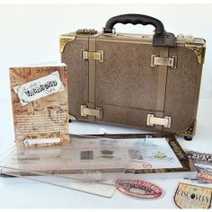 A die cut machine that closes up to look like a vintage suitcase? Die Cut Machines, Embossed Paper, Tim Holtz, Somerset, Die Cutting, Suitcase, Craft Supplies, Cricut, Scrapbooking