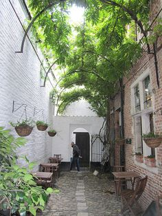 16th century alley in the town center of Antwerp, Belgium.