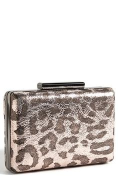 $78, Metallic Leather Box Clutch Leopard by ROYALE CHIC. Sold by Nordstrom. Click for more info: http://lookastic.com/women/shop_items/113459/redirect
