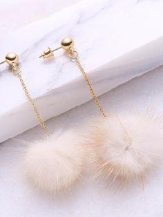 Earrings by BORNTOWEAR. Beige Pom Pom Drop Earrings