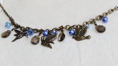 SOLD Bird Charms Antiqued Bronze Chain Necklace by WarmSandsGiftShop