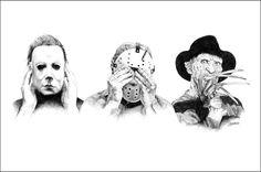 Horror: Hear, See, Say no Evil 😈 Horror Movie Tattoos, Horror Movie Characters, Halloween Tattoo, Arte Horror, 4 Tattoo, Horror Artwork, Horror Icons, Halloween Horror, Scary Movies