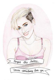 Miley Cyrus watercolor portrait illustration PRINT by ohgoshCindy
