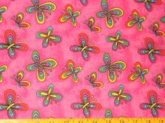 1/2 Yard Rainbow Butterfly Tutti Fruitti Fabric Pink Quilt Dress Fabric