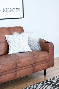 Paint Your Old Couch To Look And Feel Like Leather Diy Furniture Couch Painting Fabric Furniture Couch Furniture