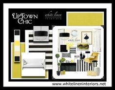 Striped Black and White with Pops of Yellow Home Decor Ideas e ...