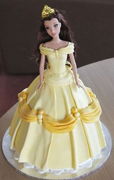"""Belle Dolly Varden ~ Say it with Cake (I do not normally like """"doll cakes"""" but this one is beautifully decorated. Belle Birthday Cake, Barbie Birthday Cake, Bolo Barbie, Barbie Cake, Princess Belle Cake, Princess Disney, Princess Doll Cakes, Bolo Artificial, Dolly Varden Cake"""