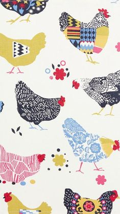 sweet pattern full of chickens! - I am back from a very lovely hot and sunny Italy where I saw not only the Bowie show but also lots of prints and patterns which I will bri. Textile Patterns, Print Patterns, Pattern Print, Collage Kunst, Motifs Animal, Chicken Art, Pattern Illustration, Chicken Illustration, Art Graphique