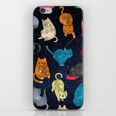 Cats in space phone case for iphone, samsung galaxy and more, adorable kittens on Society6