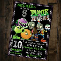 Where the Wild Things Are Invitation - Wild Things Birthday Invitation - Wild Rumpus Birthday - Where the Wild Things Are Invite 3 Year Old Birthday Party, Zombie Birthday Parties, Zombie Party, 8th Birthday, Birthday Wishes, Plants Vs Zombies, Zombies Vs, Boy Party Favors, Birthday Party Decorations