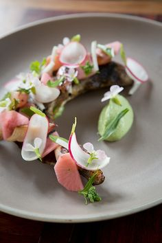 Roasted Hamachi Collar, Radishes, Burnt Lime, Cilantro Aioli. Chef Manfred Wrembel of Huxley - San Francisco