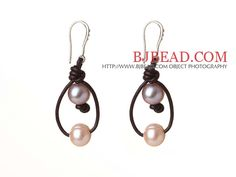 Lovely Style Simple Design Natural Freshwater Pearl Lether Earrings with Fish Hook-------$4.16