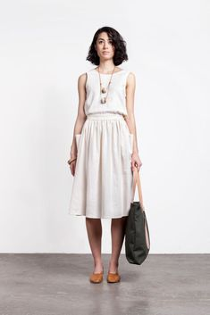 Image of Jesse Kamm Field Dress lovely dress with bow detail on back Look Fashion, Fashion Beauty, Womens Fashion, Fashion Usa, Korean Fashion, Feminine Mode, Dress Skirt, Dress Up, Midi Skirt