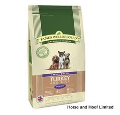 James Wellbeloved Turkey Rice Small Senior Dog Food 1 5kg James Wellbeloved Turkey Rice Small Senior Dog Food has no added artificial colours flavours or preservatives.