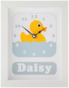 Stripey Cats Personalised Daisy Duck Framed Clock, 23 x 18cm, Blue