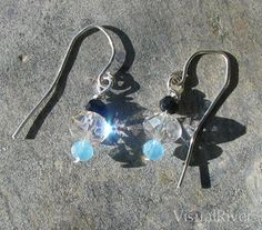 Light Blue Black and Crystal Glass Dangle Earrings by visualriver, $19.00