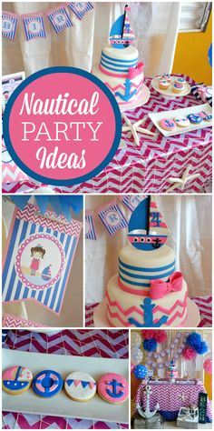 What an awesome pink and navy Nautical girl birthday party! See more party… Birthday Fun, First Birthday Parties, Birthday Party Themes, First Birthdays, Birthday Cakes, Birthday Ideas, Nautical Party, Ideias Diy, Baby Party