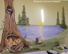 Baby Nursery 'Fishing Themed' Mural. Boy fishing with his dog - boy's room mural. Mural features boy and his lab, baby rabbits, raccoon, squirrel, duck and assorted bugs.  www.artideas.typepad.com