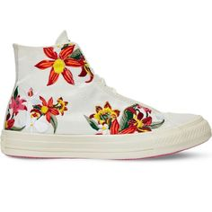 Converse All Star floral-embroidered high-top trainers (1,905 MXN) ❤ liked on Polyvore featuring shoes, sneakers, converse high tops, floral sneakers, lace sneakers, high top shoes and white high tops