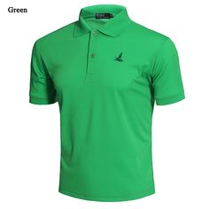 Mens Casual Solid Color Embroidery Quick-drying Breathable Short Sleeve T-shirt POLO Shirt