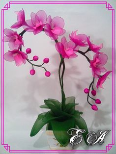 Nylon Flowers, Cloth Flowers, Diy Flowers, Flower Decorations, Fabric Flowers, Paper Flowers, Flower Crafts, Flower Art, Ribbon Projects