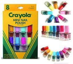 Crayola nail polish: scarlet, orange, canary, robin's egg blue, bluebell, plum, wild strawberry, and cotton candy.