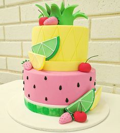 One of our cakes from this weekend, loving this idea of tropical pineapple and watermelon! 🍉🍍🍒 The Effective Pictures We Offer You About Birthday Cake unic Fruit Birthday Cake, Watermelon Birthday Parties, 2nd Birthday Party Themes, Fruit Party, Summer Birthday, Baby Birthday, Birthday Cakes For Girls, Birthday Ideas, Birthday Nails