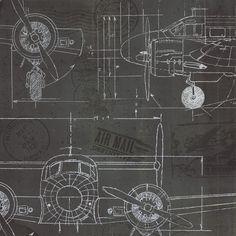 Plane Blueprint 3 - Wall Mural & Photo Wallpaper - Photowall