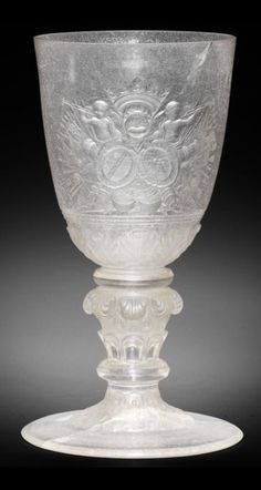 A rare and important Kassel Hochschnitt armorial goblet, by Franz Gondelach, dated 1711
