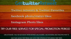 ‪#‎twitter‬ ‪#‎retweets‬ ‪#‎favorites‬ ‪#‎instagram‬ ‪#‎facebook‬ ‪#‎likes‬ www.gettwitterretweet.com  Try our FREE service for special promotion period  All staring from 100 for $ 0.2