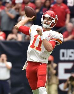 Kansas City Chiefs quarterback Alex Smith (11) throws against the Houston Texans during the first half of an NFL football game Sunday, Sept. 18, 2016, in Houston.