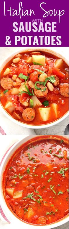 Italian Soup with Sausage and Potatoes Recipe - quick and easy soup full of chunky potatoes, smoked sausage and tomatoes. We love it served with grilled cheese for a great lunch or dinner!