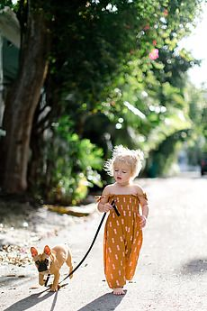A young girl walking her dog by Kayla Snell for Stocksy United Cute Outfits For Kids, Cute Kids, Cute Babies, Baby Kids, Baby Girl Fashion, Toddler Fashion, Kids Fashion, Little Ones, Little Girls