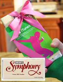 """Symphony candy bar with an iTunes gift card. That's """"music to my ears,"""" """"you make my heart sing."""" and """"you rock"""" in the making! Fun play on word gift."""