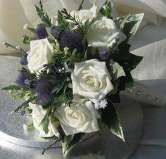 Scottish Wedding Posy - Roses,Thistle, Heathers - Shower Bouquets, Buttonholes
