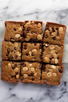 marcona almond and chocolate chip blondies by joy the baker