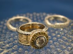 Platinum and 18kt Yellow Gold Engagement Ring and Wedding Bands  by Custom