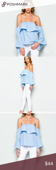 "Off The Shoulder Soft Blue Ruffle Top, Bell Sleeve ❤️ BUNDLES ❤️ DISCOUNTS ❌ NO TRADES ❌ NO Low balling!  • Bell Sleeve  *MEASUREMENTS: • SMALL: - Length (from Armpit): 16.25"" Approx - Bust: 35.5"" Approx, Stretches to about 38"" Approx • • MEDIUM: - Length (from Armpit): 16.85"" Approx - Bust: 38"" Approx, Stretches to about 39.25"" Approx • • LARGE: - Length (from Armpit): 17.25"" Approx - Bust: 39.25"" Approx, Stretches to about 40.5"" Approx •  - MATERIAL: - 80% Polyester - 20% Cotton Tops Tees…"