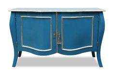 French Style Estelle Blue and Silver Sideboard Console Hallway