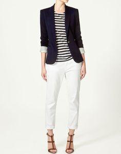 Dark-blue Weave Temperament Suit - Sheinside.com