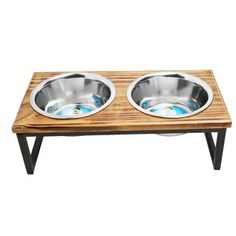 Indipets Serve up your dog's daily meals in dishwasher-safe stainless steel feeder that allows for easy cleaning between feedings. Rest the feeder in the elevated wood and metal stand to provide comfortable access for aging pets. Overall Height: Large H) Wood Dog House, Insulated Dog House, Elevated Dog Feeder, Pet Barrier, Dog Pen, Dog Sofa Bed, Pet Feeder, Food Feeder, Pet Bowls