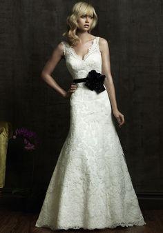A-Line V-Neck Lace Taffeta Sweep Wedding Dress Style 8825 $303.05 Designer Wedding Dresses
