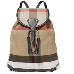 Burberry London London leather-trimmed checked jute and cotton-blend... (51.545 RUB) via Polyvore featuring bags, backpacks, canvas backpack, burberry bags, brown bag, multi color backpack и leather trim backpack