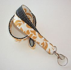 Key Chain Lanyard Id Holder Key Leash badge holder - gold damask black pin dots #Handmade chic / cute / preppy / fabric / patterned / accessories / for you, co-worker or school gifts / home, office decor