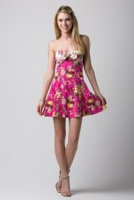 7287004348f58 Flower Print Tube Flare Dress with Front Bow Cutout Tie by Solemio
