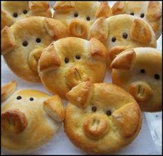 Piggy bread--use recipe to the right for Japanese Sweet Bread   snip ears with scissors  Be careful not to overwork the dough when forming rolls for baking.