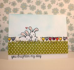 Adorable card using the bunnies from the Lawn Fawn Happy Easter set and Summertime Charm; Daphne's Closet paper _ You Brighten My Day by barbghig, via Flickr