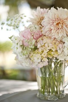 Table arrangements -  pastel dahlias, queens ann lace, Hydrangea.